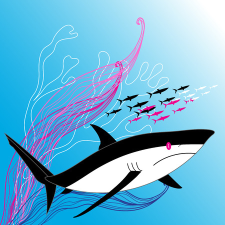 Vector illustration of a large shark