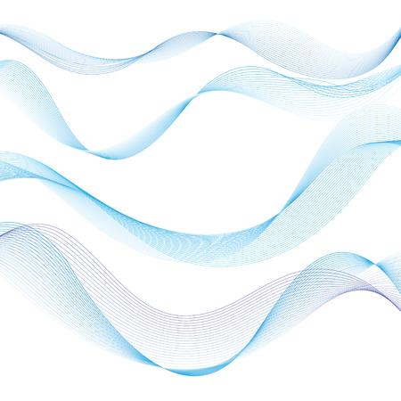 白い背景の青い波を興味深いベクトル