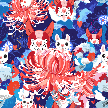 A Seamless bright floral pattern love puppies illustration.