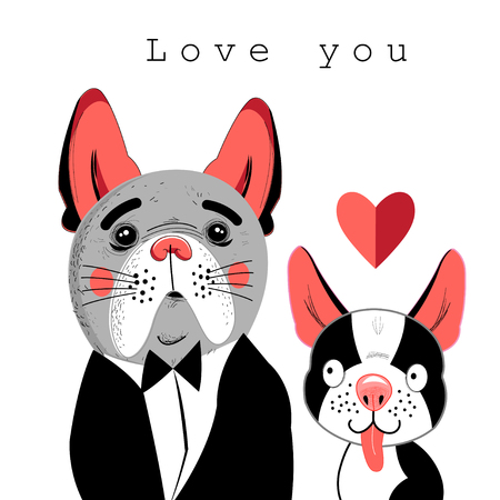 Vector portrait of lovers of dogs Illustration