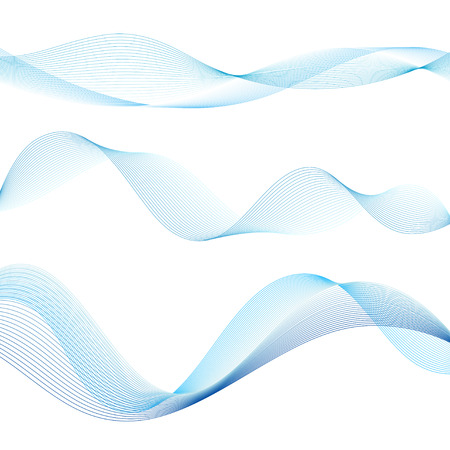 Vector interesting blue waves on white background Banco de Imagens - 82586387