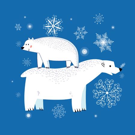 Festive Christmas greeting card with polar bears