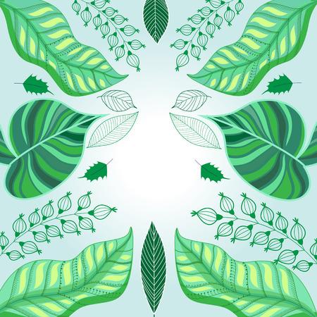 Vector grafische groene achtergrond ecologie met groene bladeren Stock Illustratie