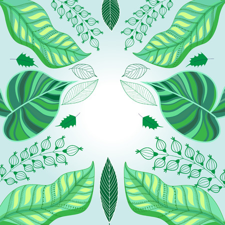 Vector graphic green background ecology with green leaves
