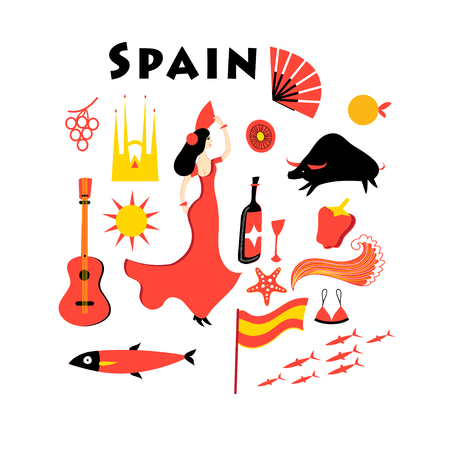 Set of elements to the theme of Spain on a white background
