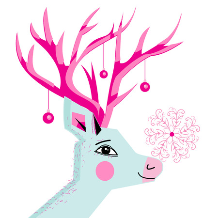 Greeting card bright New Year card with a portrait of a deer. Banco de Imagens - 82751131