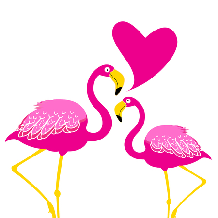 Festive card with pink flamingos in love on white background