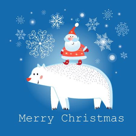 Greeting graphics Christmas card with polar bear and Santa Claus