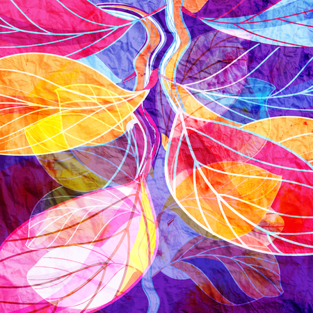 Beautiful watercolor autumn background with colorful leaves