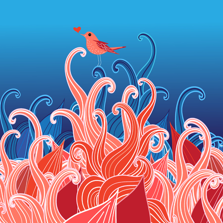Festive greeting card with a bird in love on plants Ilustração