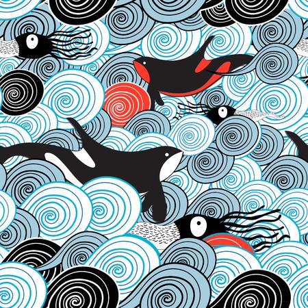Tekening van een mooi patroon van de zeegolf met walvissen en pijlinktvis