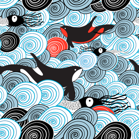 Zeichnung eines schönen Seewellenmusters mit Walen und Kalmar Standard-Bild - 82805742