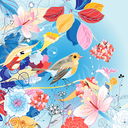 Beautiful bright illustration with a bird and berries on a blue background with flowers