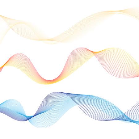 흰색 배경에 벡터 추상 윤곽이 설정 된 웨이브 일러스트