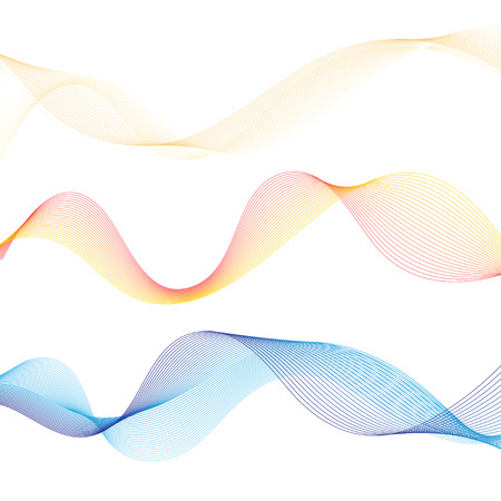 Vector abstract outlined wave on white background