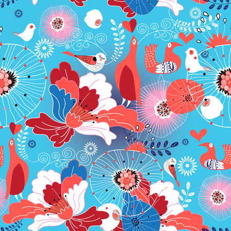 Seamless floral pattern in love birds