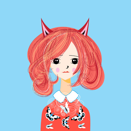 Vector funny cartoon portrait of a girl with red hair and fox ears