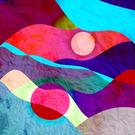 Abstracte aquarel heldere achtergrond met verschillende kleurrijke golfelementen