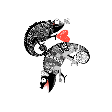 Vector drawing in love ornamental chameleon on white background Illusztráció