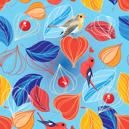 marvel: Seamless vector pattern of leaves and physalis on a blue background Illustration