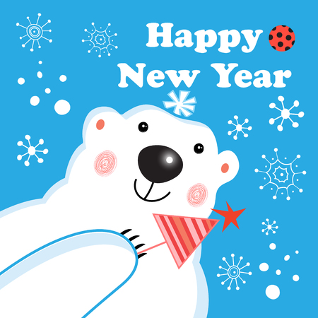New year postcard with a portrait of a polar bear on a blue background with snowflakes Stock Photo
