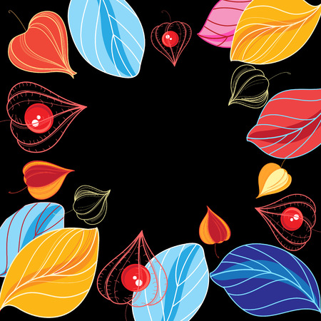 Autumn vector color background with foliage and physalis Imagens - 83279586