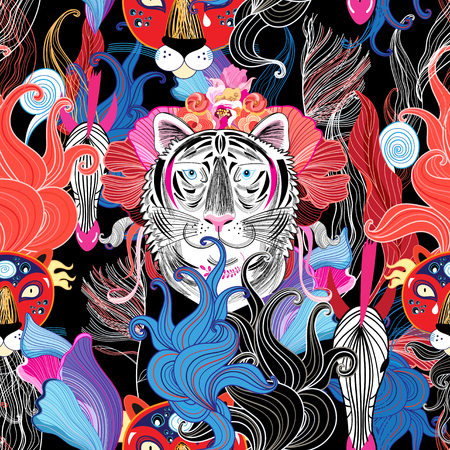 Seamless bright floral pattern of wild beasts in the jungle