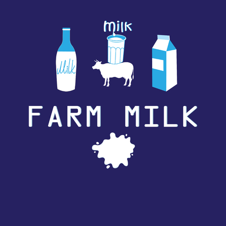 Vector poster of farmer milk cow on blue background