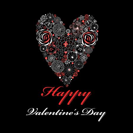 Mooi ornamentaal bloemen hart op een donkere achtergrond