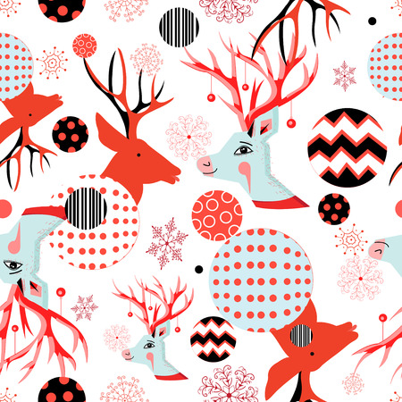 Seamless beautiful New Year pattern with portraits of deer and snowflakes on white