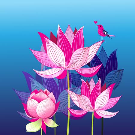 Postal encantadora brillante con un pájaro del amor en lotuses
