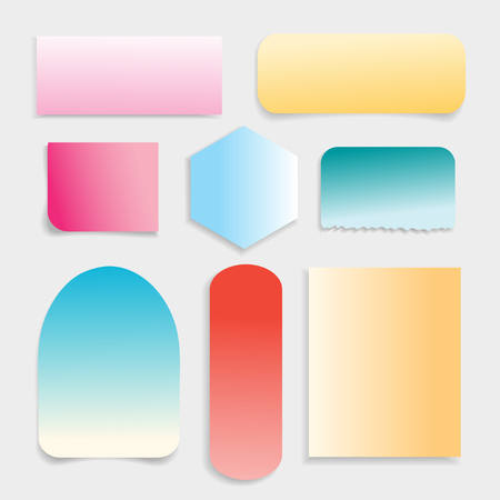 Vector collection of different colored paper on a white background