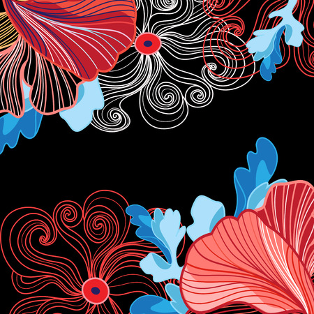 Vibrant vector background with different beautiful flowers large
