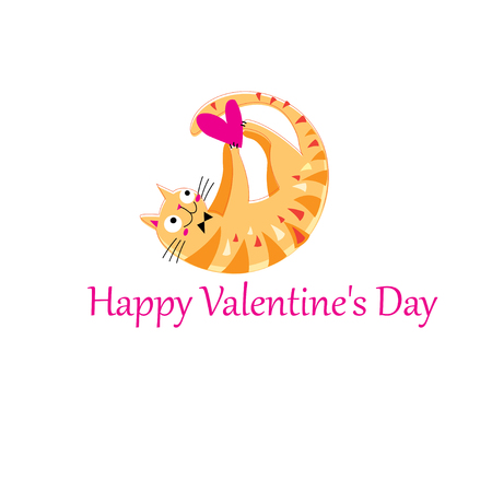 Funny orange in love cat on white background