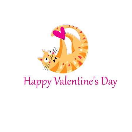 Funny orange in love cat on white background