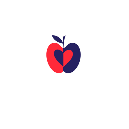 Apple icon in red and blue color  on a white background
