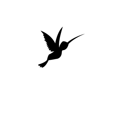 Silhouette of a hummingbird on a white background