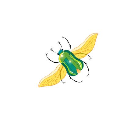 記号ベクトル飛行中白い背景の上の緑のカブトムシ