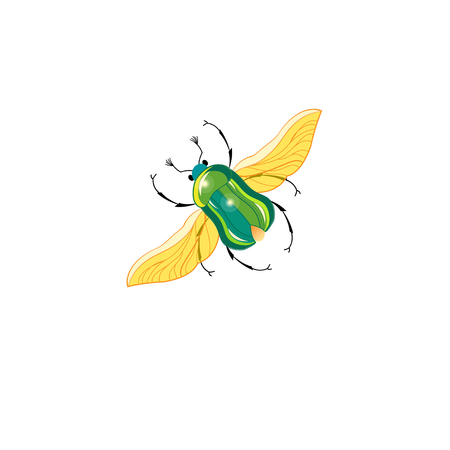 Sign vector green beetle in flight on a white background 向量圖像