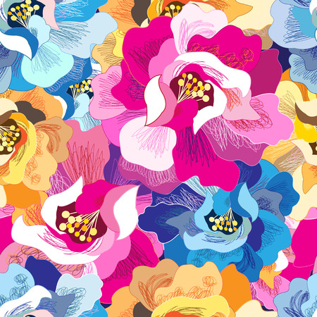 Seamless beautiful bright vector summer floral pattern.