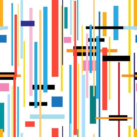 Seamless beautiful color geometric pattern from strips on white.