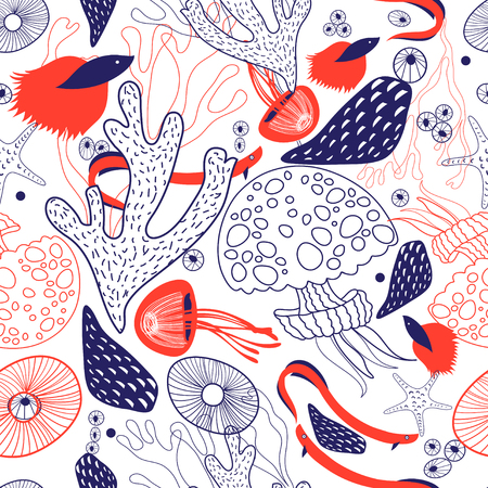 Seamless beautiful sea pattern from coral and jellyfish on a white background.