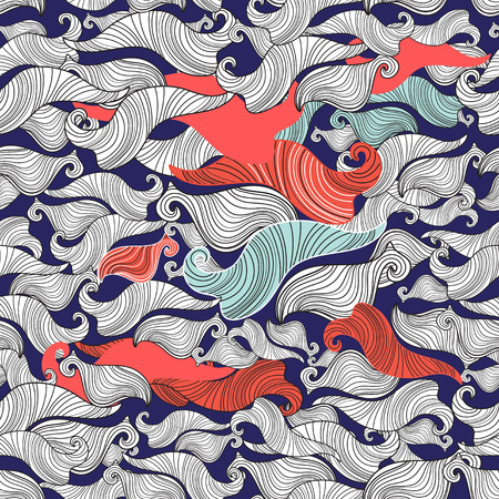Seamless abstract graphic pattern of wavy elements