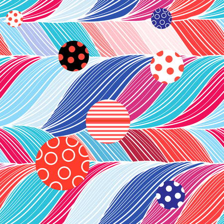 Seamless color bright pattern of wavy and round elements Illustration