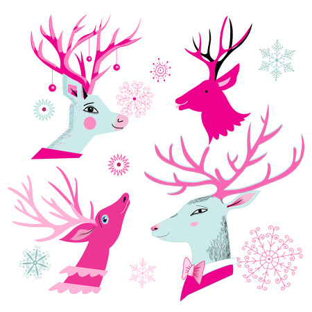 Vector christmas set of deer heads isolated on white background