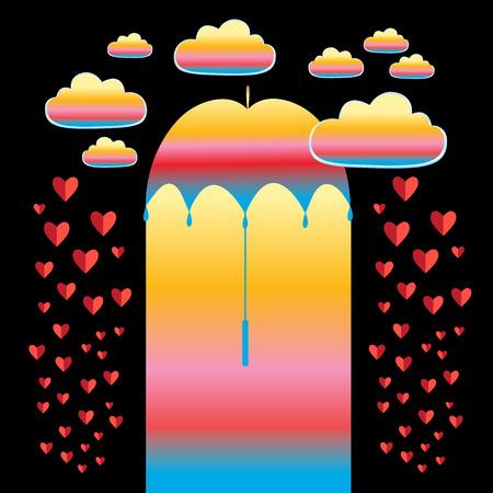 傘と赤ハート、ベクトル ホリデー カード  イラスト・ベクター素材