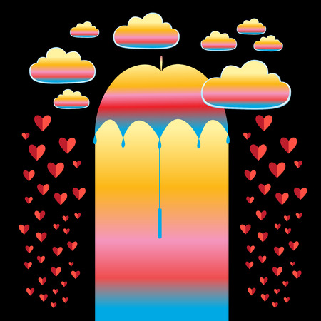 Vector holiday card with an umbrella and red hearts