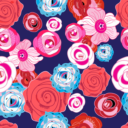 Multi-colored summer pattern different roses on a dark background Banco de Imagens - 83762103