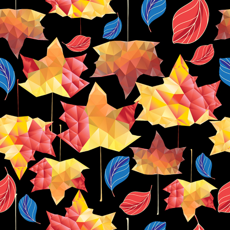 Multicolored autumn pattern of maple leaves on a dark background
