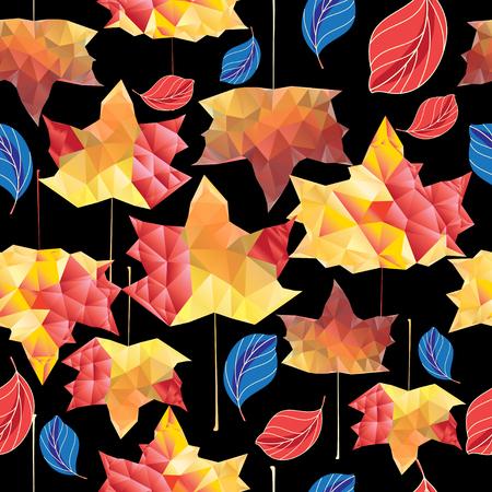 Veelkleurig herfstpatroon van esdoornbladeren op een donkere achtergrond